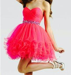Pink neon cocktail dress