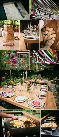 Seattle Farm Tables - table details, outdoor summer wedding Seattle WA - M. Magee Photography