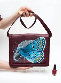 Vintage leather bag 'Butterfly safari', hand-painted