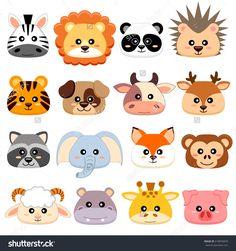 Cute cartoon animals head. Dog, pig, cow, deer, lion, sheep, tiger, panda, raccoon, monkey, fox, zebra, giraffe, elephant, hedgehog, hippopotamus