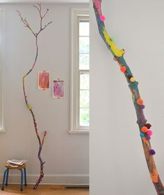 Kids Crafts A Painted Branch // Collaborative Art with Kids Chalk art Art Branch Chalk art projects Collaborative Crafts Kids painted Art For Kids, Crafts For Kids, Arts And Crafts, Painted Branches, Weaving For Kids, Branch Art, Easy Art Projects, Collaborative Art Projects For Kids, Family Art Projects