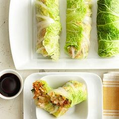 20 Healthy Cabbage Recipes (napa cabbage spring rolls recipe)- leave out the rice. Fresh Vegetables, Fruits And Veggies, Chou Napa, Cocina Light, Asian Recipes, Healthy Recipes, Chinese Recipes, Farmers Market Recipes, Good Food