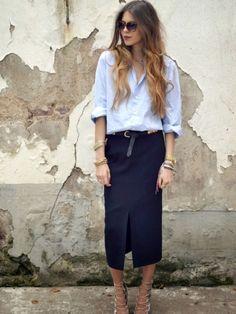 loose oxford shirt, black belt, navy midi pencil skirt and strappy heels 46d3ba5a2413