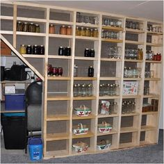 Basement Storage Ideas. shelves in between the wall studs. awesome idea!