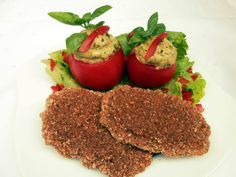 Einkorn bread and tomatoes with avocado filling. Raw vegan. Raw Mothern and Daughter.