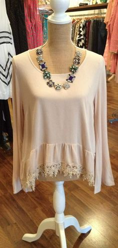 Beige Flaired Sleeve Blouse $38