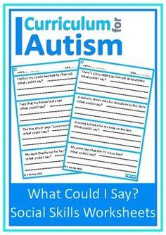 "#autism #socialskills ""What Could I Say?"" no prep worksheets"
