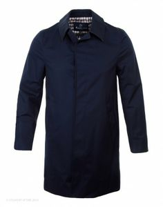 Aquascutum Men's Slim Broadgate Raincoat – Navy
