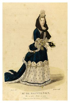 Madame de Maintenon 1635-1719 mistress of Louis XIVth -  print was made in 1827- Louis Marie Lanté, via Flickr.