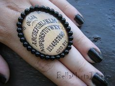 Ouija Board Ring! This would be so cool for a witch's costume!  or a fortune teller, gypsy, anything!