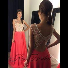 Abendkleider Sexy New Prom Dresses 2017 Scoop Cap Sleeve A-Line Floor Length Beading Chiffon Evening Gowns Vestido longo