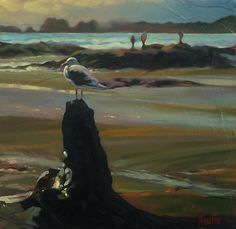 """Cautious Optimism... original art is sold, 10"""" X 10,  oil on canvas... As we sit and eat our picnic lunch on Chesterman Beach near Tofino, B.C., we're joined by a lone male Herring Gull (Larus argentatus). He perches on a nearby stump in a nonchalant fashion ... close enough to beat rivals to a food scrap, but far enough from us for his own safety. He watches us closely, cautiously ptimistic. Are we possibly the gull-friendly type, sympathetic to his cause? Mark Heine"""
