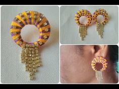 Multi Colour Silk Thread Stones Earrings. DIY. Simple And Easy Earrings Tutorial, My Crafts and DIY