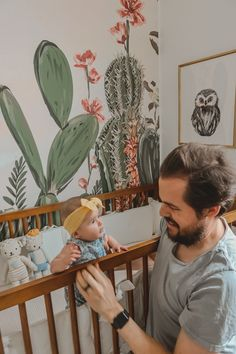Today we are sharing every detial of our twin girls cactus themed desert oasis twin nursery! Come join us and step into a little desert oasis! Nursery Twins, Nursery Room, Western Nursery, Green Wall Clocks, Make Way For Ducklings, Changing Table Dresser, Target Baby, Desert Oasis, Twin Girls