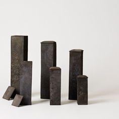 Mjölk : Black copper ceramic container sculpture by Uchida Koichi - Black copper ceramic container sculpture