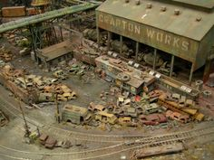 """HO model RR salvage yard"" Here's some of model train layout. It's just one giant model. Ho Model Trains, Ho Trains, Train Ho, Escala Ho, Train Miniature, N Scale Trains, Model Train Layouts, Ho Scale Train Layout, Model Building"