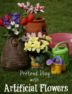 pretend play with artificial flowers - happy hooligans - garden play