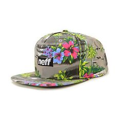 The Neff Five 0 Neff snapback hat is an all grey and Hawaiian print for a low key beach vibe. This cap has an all grey body with a printed beach scene complete with hibiscus plants. Rock one of Neff's most popular print with a front logo patch for a look
