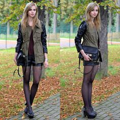 Khaki Military Jacket with PU Leather Sleeves