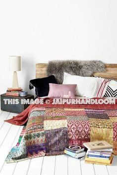 Kantha Quilt Patchwork Quilt Hand Block Print Bedspread