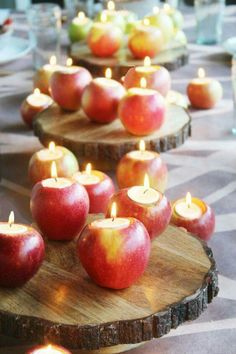 Unusual table centerpiece of wood and apples