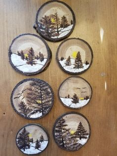 The latest batch of wood slice ornaments are nearly completed.
