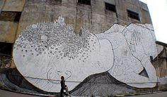 Blu, Buenos Aires, huge street artwork on the walls of Argentina Beer Girl, Artist Biography, Ouvrages D'art, Urban Art, Street Art, Moose Art, Culture, Artwork, Painting