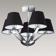 Plafon LAMPA sufitowa ORLANDO 5103/5A BK/CR Maxlight OPRAWA abażurowa ŻYRANDOL chrom czarny