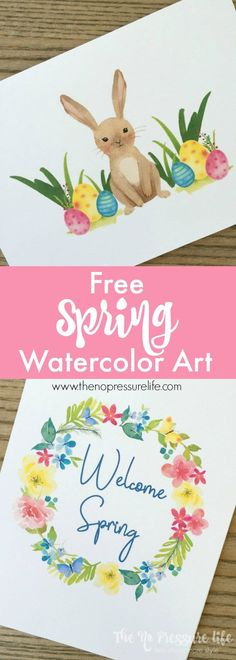Free Spring Printable Art: Two Free Watercolor Prints to Decorate Your Walls - Pretty spring printable art! Get these free, digital printable watercolors to decorate your home fo - New Crafts, Holiday Crafts, Crafts To Make, Holiday Fun, Holiday Decor, Easter Art, Easter Crafts, Easter Bunny, Easter Decor
