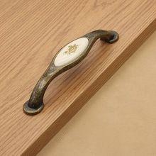 128mm kichen ceramica gabinetto maniglie in bronzo cassettone estraibile antico in lega di zinco cassetto armadio mobili hareware maniglie pull knob  (China (Mainland))