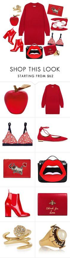 """Lady in Red"" by cherieaustin ❤ liked on Polyvore featuring Daum, MM6 Maison Margiela, STELLA McCARTNEY, Aquazzura, Diane Von Furstenberg, Yazbukey, Laurence Dacade, Gucci, Alexis Bittar and Alexander McQueen"