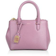 Lauren Ralph Handle Bags, Mini Double Zipper Satchel Deco Rose Handbag (1.010 RON) ❤ liked on Polyvore featuring bags, handbags, man bag, purple handbag, handle bag, purple purse and mini satchel handbags