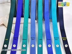1. Teal 2. Electric Blue 3. Mallard 4. Smoke Blue 5. Jade 6. Royal 7. Tornado Blue 8. Dresden Blue
