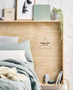 Love this headboard. I'd paint it a color, though ClippedOnIssuu from Real living, June 2016 Headboards DIY plywood bedhead: watch our video tutorial! Plywood Headboard Diy, Diy Storage Headboard, Headboard With Shelves, Headboards For Beds, Shelf Headboard, Home Bedroom, Bedroom Decor, Bedrooms, Headboard Designs