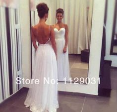 simple wedding dress spaghetti straps and open back needs a sparkly belt
