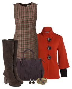 """Office outfit: Brown - Orange"" by downtownblues ❤ liked on Polyvore featuring Joseph Ribkoff, WOLL, Lola Cruz and Heidi Daus"