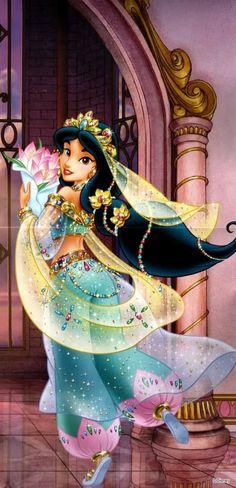 Magnifique Walt Disney, Heros Disney, Disney Characters, Aurora Disney, Disney Princesses And Princes, Disney Princess Art, Disney Art, Princess Jasmine Art, Aladdin Princess