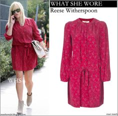 WHAT SHE WORE: Reese Witherspoon in red floral printed silk dress on December 13 #fashion #dress #red