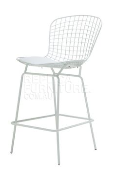 Harry Bertoia Wire Bar Stool Replica White Powdercoated Frame In Black Or