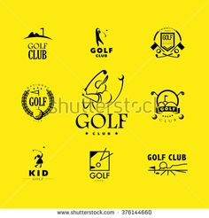 Vector flat golf logo design. Golf player icon, sport logo, golf club insignia, print desig, any advertising sample. - stock vector