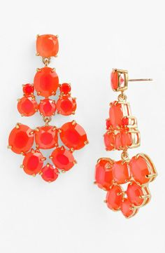 Fluorescent coral statement piece | Kate Spade chandelier earrings