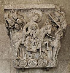 9. Capitel que muestra 'La Huida a Egipto', por el maestro Gislebertus, catedral de Saint-Lazare, Autun. Maria inclina la cabeza y a esa al Niño otorgándole así una forma más humana a la representación.