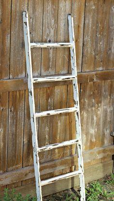 Ladder Vintage Rustic Blanket Ladder by linenandlaceshop on Etsy, $65.00