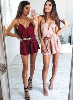 Es nada' matching outfits, twin outfits, night outfits, sexy night out Twin Outfits, Night Outfits, Mode Outfits, Girly Outfits, Cute Casual Outfits, Outfits For Teens, Summer Outfits, Matching Outfits Best Friend, Best Friend Outfits