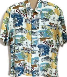 7fee68d8 Pierre Cardin Mens Large L Hawaiian Tropical Short Sleeve Shirt Coral Coast  Palm #PierreCardin #