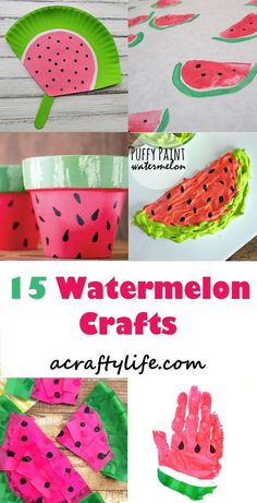 watermelon kids crafts - summer crafts - crafts for kids- kid crafts - acraftylife.com #preschool #kidscraft #craftsforkids