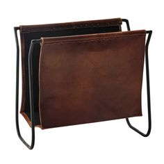 leather and metal magazine rack in brown Calvin Range Magazine, Magazine Stand, Metal Magazine, Magazine Rack, Copper Decor, Metal Rack, Hearth And Home, Record Storage, Salon Design