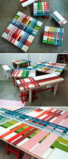 Plaid benches -- could be made from pallets