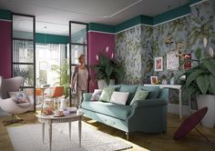 Hornbach Paradise at Home - living modern cu wallpaper plante Home And Living, Living Room, Bold Colors, Family Room, Ornaments, Wallpaper, Bed, Modern, House
