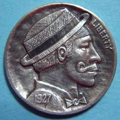 By Ralph Perrico- Barbershop Singer Hobo Nickel, Coin Art, Barbershop, Sculpture Art, Coins, Singer, Barber Shop, Rooms, Barber Shop Names